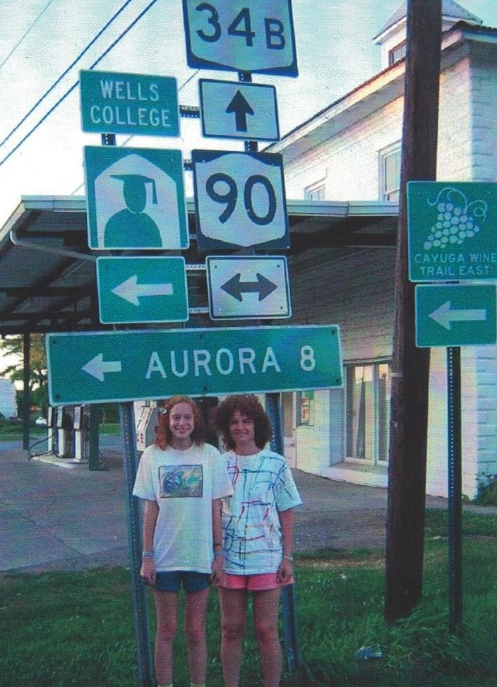Still 8 miles away, we stopped to take a picture of the Wells College sign.
