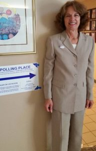 Wearing a pantsuit to cast my vote for Hillary Clinton