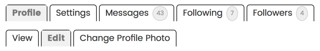 Profile tabs