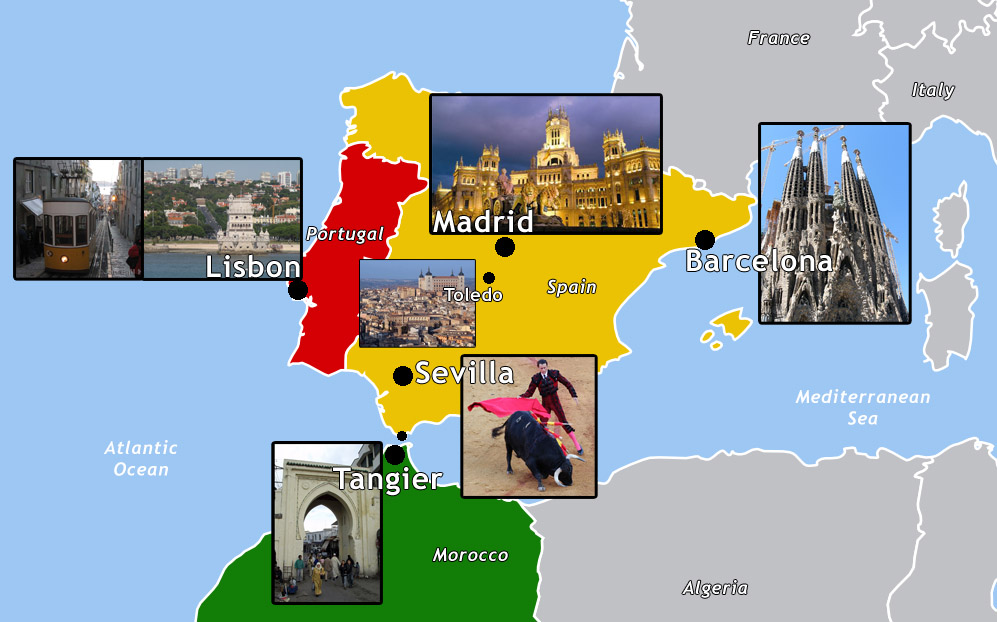 Map Of Spain Portugal And Italy.Spain Portugal Map Retrospect