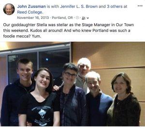 Facebook post: visiting Stella